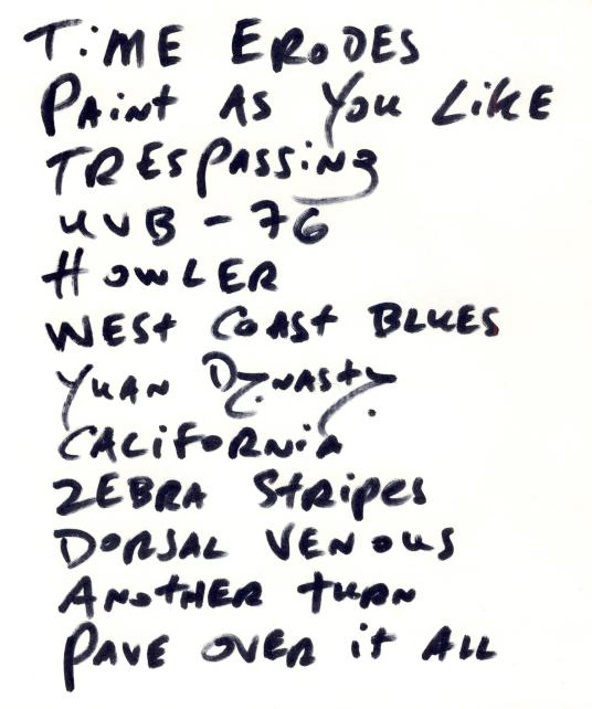 OL west taloola set list